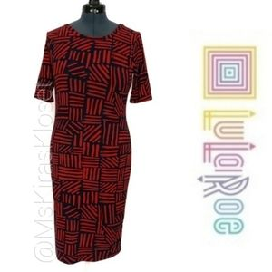 Julia Ikat Crosshatch Print Midi Dress EUC